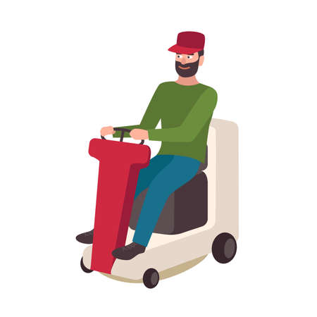 Happy bearded man sitting on lawn mower. Isolated on white background. Smiling male cartoon character, riding electric cart. Janitor, gardener, yardman. Colorful vector illustration in flat style.
