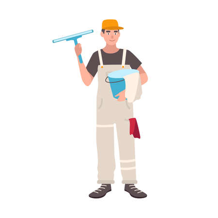 Happy man dressed in uniform standing and holding bucket and cleaning wiper. Flat vector illustration.
