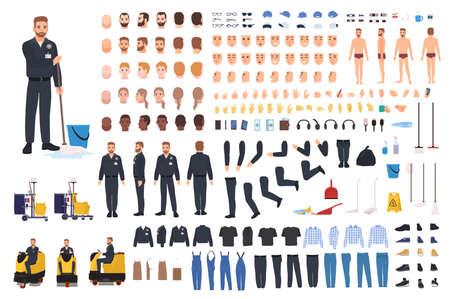 Cleaning service worker creation set vector illustration 版權商用圖片 - 95813048