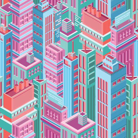 Seamless pattern with tall isometric city buildings
