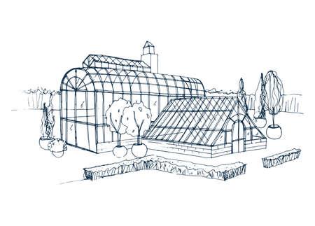 Schets uit de vrije hand van buitenkant van exotische botanische tuin omringd door struiken en bomen die in potten groeien. Ruwe tekening van gevel van glazen kas. Zwart-wit hand getrokken vectorillustratie.