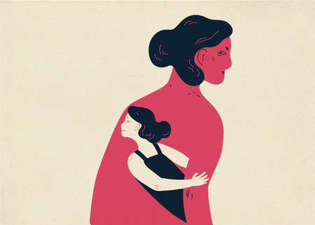 Woman and her small copy hiding under her arm and looking out. Concept of inner child, childlike aspect of human personality, sub-personality. Colorful vector illustration in contemporary style. Vettoriali