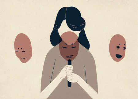 Mujer con la cabeza baja cubriendo su rostro con máscaras que expresan diversas emociones. Concepto de cambio de personalidad natural para cumplir con los requisitos sociales y la presión. Ilustración de vector colorido
