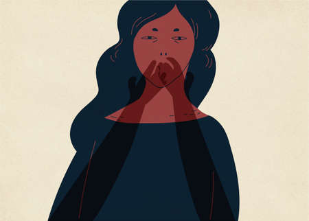 Pair of translucent ghostly hands covering mouth of young woman. Colorful vector illustration
