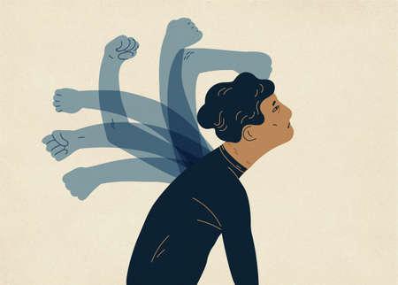 Translúcidas manos fantasmales golpeando al hombre. Ilustración de vector colorido en estilo plano moderno
