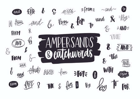 Set of various handwritten ampersands, conjunctions, prepositions and articles. Collection of elegant hand lettering design elements, words isolated on white background. Vector illustration. Illustration