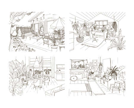 Collection of contour sketch drawings of cozy apartment