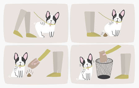 How to pick up dog poop using plastic bag and throw it in trash can, step-by-step manual or instruction. Way of cleaning up after pet during daily walk. Cute cartoon colorful vector illustration