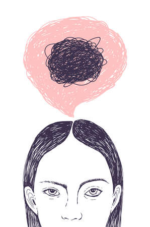 Woman s head, thought bubble and scribbles inside it hand drawn with contour lines on white background. Concept of inner confusion, difficulty, mess, chaos, chaotic mind. Vector illustration Illustration