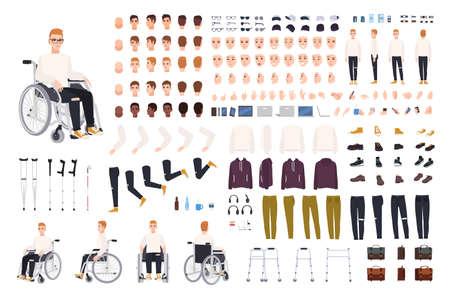 Personaje masculino con discapacidad física sentado en el juego de creación de silla de ruedas o constructor. Conjunto de partes del cuerpo del hombre discapacitado, gestos, ropa aislado sobre fondo blanco. Ilustración vectorial de dibujos animados.