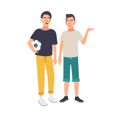 Smiling boy with hearing impairment holding soccer ball and standing together with his friend. Deaf young man or teenager with deafness and his sports team mate. Cute colorful vector illustration. Stock Illustratie