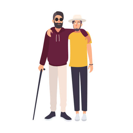 Bearded blind man with sunglasses and cane standing and embracing with his friend. Male character with blindness, visual impairment or vision loss and his mate walking together. Vector illustration. Illustration
