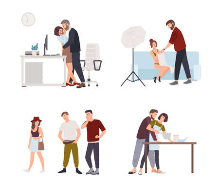 Set of harassment, assault and abuse incidents. Male boss groping female office worker in workplace, film director harassing actress, men whistling and staring at woman. Vector illustration