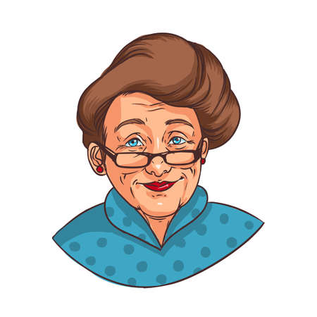 Realistic portrait of smiling elderly woman with elegant hairstyle or happy old lady dressed in blue dotted shirt. Grandmother or granny isolated on white background. Colorful vector illustration.