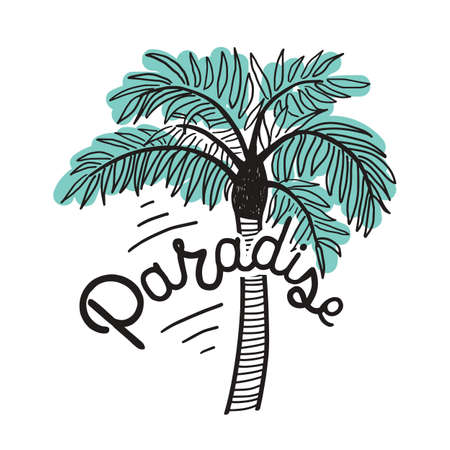 Paradise inscription written with cursive calligraphic font and exotic palm isolated on white background.   Modern vector illustration.