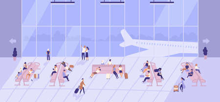 People waiting inside airport building with large panoramic windows and airplanes outside. Passengers sitting on benches and walking with baggage at terminal. Flat cartoon vector illustration.  イラスト・ベクター素材
