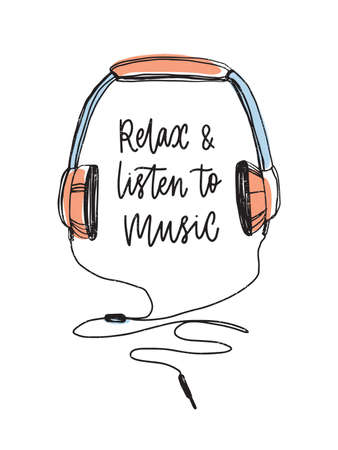 Relax and listen to music lettering handwritten with cursive calligraphic font and hand drawn headphones isolated on white background. Modern vector illustration for t-shirt or sweatshirt print. Ilustração