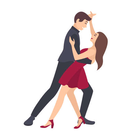 Pair of young man and woman dressed in elegant clothes dancing salsa isolated on white background. Male and female dancers demonstrating Latin American dance element. Flat cartoon vector illustration. Illustration