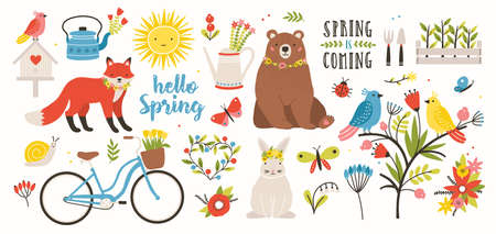 Spring set. Collection of spring elements isolated on white background. Bright colored vector illustration in flat cartoon style.