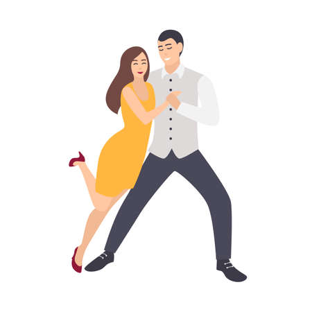Belle femme aux cheveux longs en robe jaune et homme élégamment habillé dansant la salsa. Paire de jeunes danseurs démontrant des étapes de danse sociale passionnée. Illustration de vecteur coloré de dessin animé plat.
