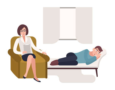 Man lying down on couch and female psychologist, psychoanalyst or psychotherapist sitting in chair beside him with notebook in hand and asking questions. Flat cartoon colorful vector illustration. Illustration