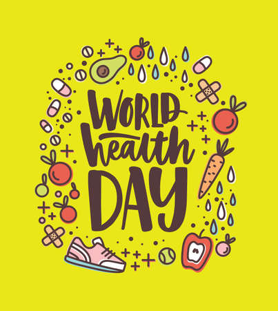 World Health Day lettering handwritten with calligraphic font