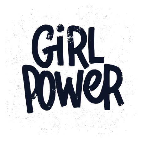 Girl power inscription handwritten with grungy black letters or font.