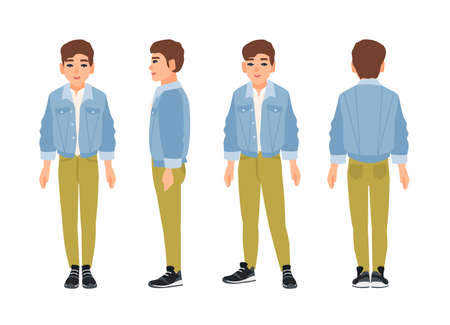Cute smiling teenage boy, teen or teenager dressed in green jeans and denim jacket. Vectores