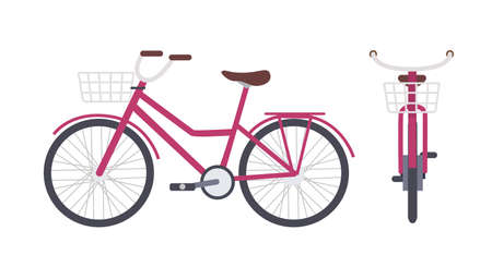 Elegant pink city bike or urban bicycle with step-through frame and front basket isolated on white background. Ilustração