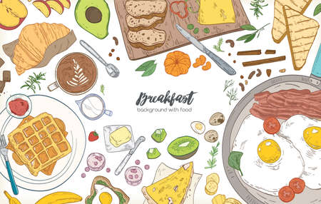 Horizontal banner or background with frame consisted of various breakfast meals