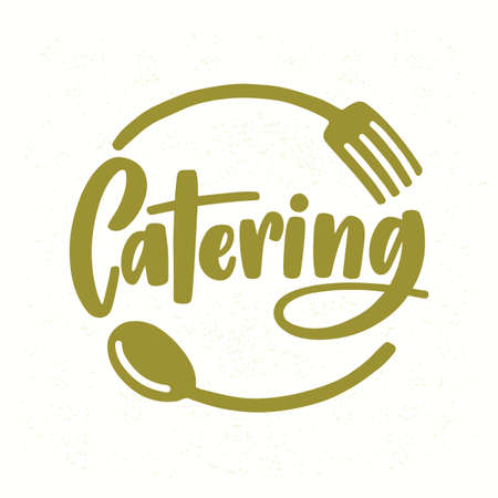 Catering company logo with elegant lettering handwritten with cursive font decorated with fork and spoon.