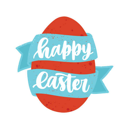 Happy Easter lettering with elegant calligraphic cursive font on blue ribbon twining around red egg