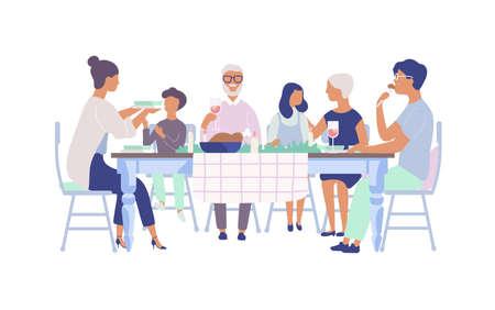 Ludzie siedzą przy stole ozdobionym świecami, jedzą jedzenie, piją wino i rozmawiają ze sobą. Rodzinny obiad świąteczny. Płaskie postaci z kreskówek na białym tle. Ilustracji wektorowych