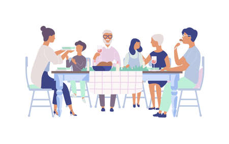 People sitting at table decorated with candles, eating food, drinking wine and talking to each other. Family holiday dinner. Flat cartoon characters isolated on white background. Vector illustration