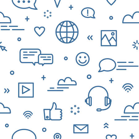 Seamless pattern with social media and networking, global internet communication, chatting and instant messaging symbols on white background. Vector illustration in line art style for wallpaper Vectores