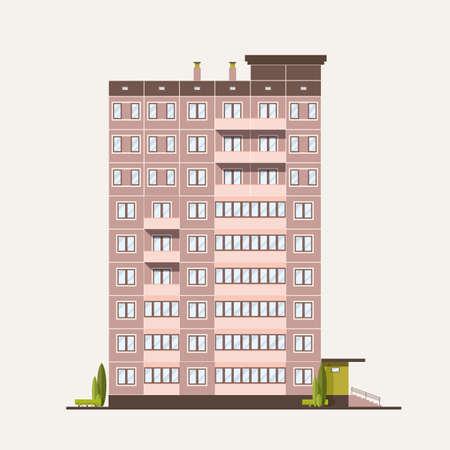 Mehrstöckiges Plattengebäude im modernen Baustil. Vektorgrafik