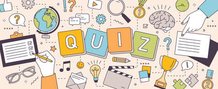 Horizontal banner with hands of people solving puzzles and answering quiz questions.