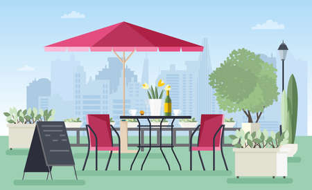 Summer outdoor cafe. Colorful vector illustration in flat style.