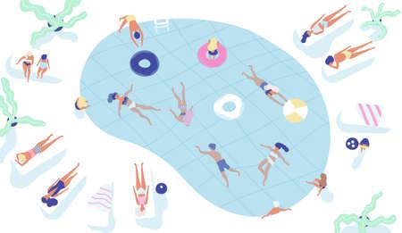 Group of people dressed in swimwear swimming in pool or lying down and sunbathing.