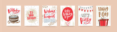 Bundle of birthday greeting card, postcard or party invitation templates decorated with handwritten b-day wishes and festive elements - gift, balloon, confetti, cake. Hand drawn vector illustration Illustration