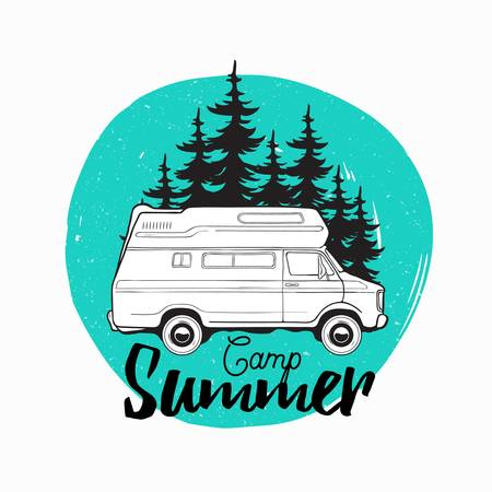 Camper trailer, campervan or recreational vehicle driving on road against spruce trees on background and camp summer inscription written with cursive font. Vector illustration for logo, advertising