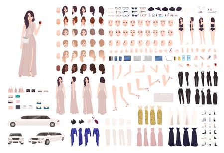 Elegant woman dressed evening prom clothing creation set or DIY kit. Collection of body parts, facial expressions, postures. Female cartoon character. Front, side, back views. Vector illustration
