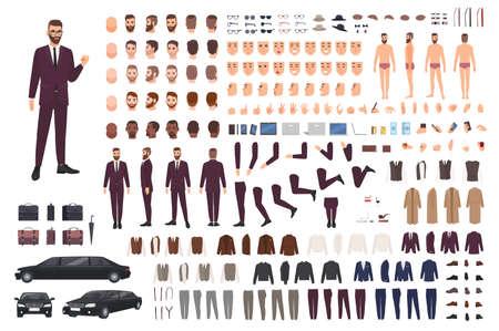 Eleganter Mann, gekleidet in Business oder Smart Suit Creation Set oder DIY-Kit. Sammlung von Körperteilen, stilvolle Kleidung, Gesichter, Körperhaltungen. Männliche Zeichentrickfigur. Vorder-, Seiten- und Rückansichten. Vektor-illustration