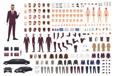 Elegant man dressed in business or smart suit creation set or DIY kit. Collection of body parts, stylish clothes, faces, postures. Male cartoon character. Front, side, back views. Vector illustration