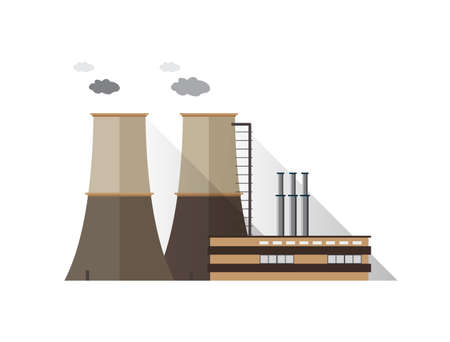 Factory building with pipes and cooling towers emitting vapor isolated on white background. Power plant or station of modern industrial architecture. Cartoon colored vector illustration in flat style