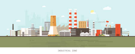 Industrial site or zone with factories, manufacturing plants, power stations, warehouses, cooling towers against city buildings on background. Flat cartoon colorful vector illustration for banner