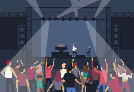 Large group of people or music fans dancing in front of stage with performing musical band, back view. Musicians, singers and audience at summer open air festival. Flat cartoon vector illustration
