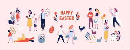 Foule de gens portant de grands ?ufs de Pâques décorés, des gâteaux, des paniers, des fleurs et des branches de saule, jouant des enfants vêtus de costumes de lapin. Illustration de vecteur coloré de dessin animé plat.