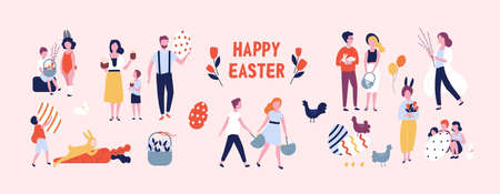 Multitud de personas llevando grandes huevos de pascua decorados, pasteles, cestas, flores y ramas de sauce, jugando niños vestidos con trajes de conejo. Ilustración de vector colorido de dibujos animados plana.