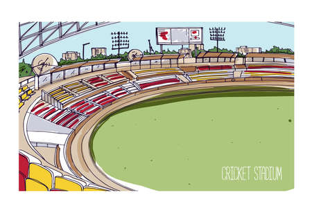 Colorful drawing of cricket stadium with rows of seats, electronic scoreboard and green grassy field. Sports arena for traditional British team bat-and-ball game. Hand drawn vector illustration. Ilustração